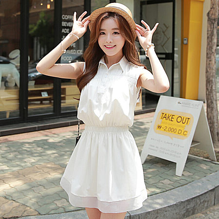 夏装韩版收腰显瘦甜美无袖连衣裙小清新女学生