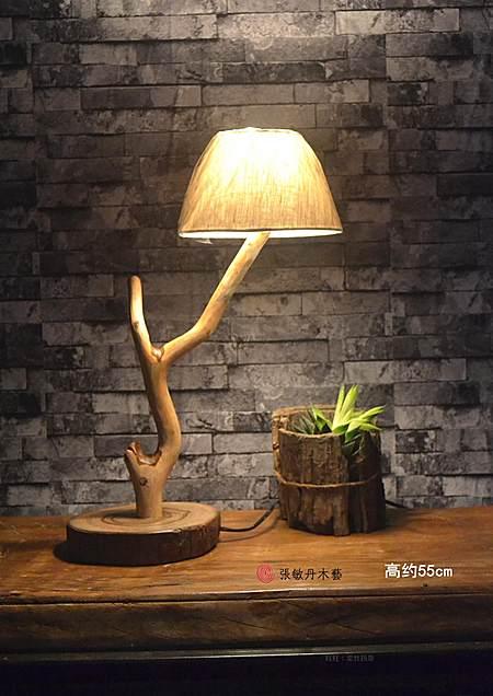 独家原创简约卧室台灯木质手工香樟木床头灯
