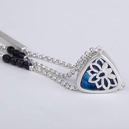 古典原创 莲花银项链