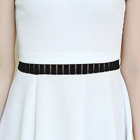 韩版女装无袖大码修身拼接打底连衣裙潮透视
