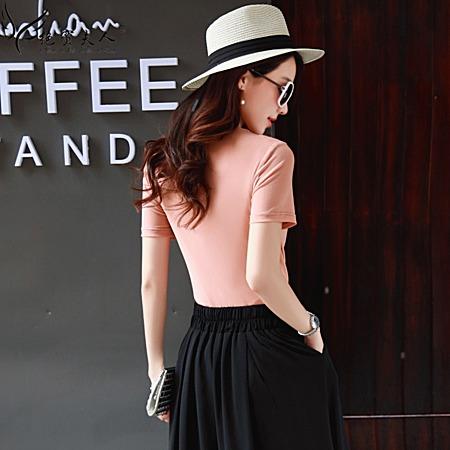 短袖T恤女装大码纯色上衣修身显瘦职业OL夏装
