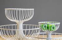 创意铁艺双层果盘摆件 现代样板房软装客厅装饰