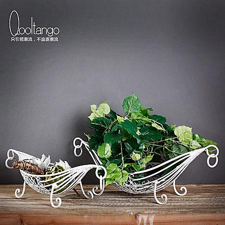 北欧创意水果篮 镂空铁艺餐厅果盘/果篓2件套