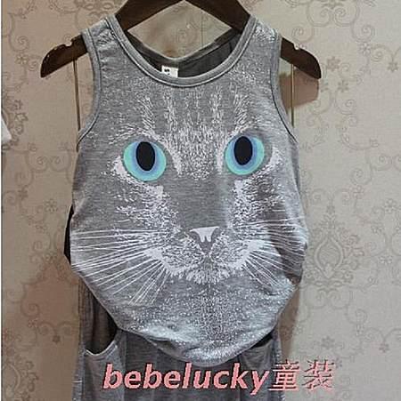 可爱猫咪背心套装 男宝女宝都适合