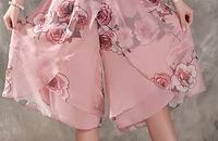 雪纺印花五分阔裤裙,雪纺面料特柔软舒服,