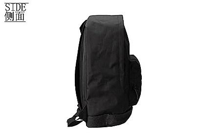 潮牌街头双肩包 黑色背包男士学院风旅行包书包