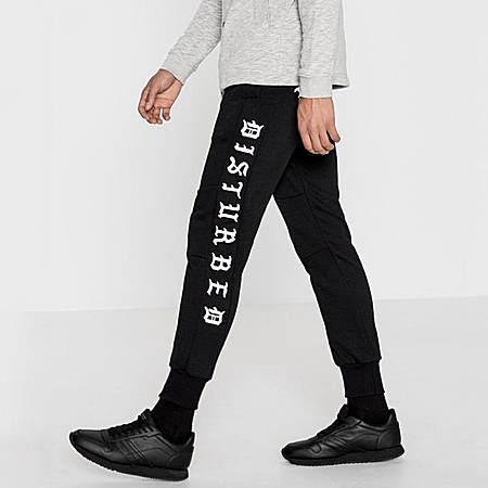 PullAndBear 黑色印花束脚裤