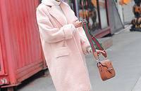 浅粉色羊毛呢外套