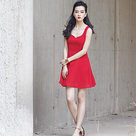 小红裙雪纺连衣裙气质优雅小礼服裙