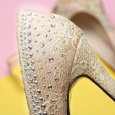 非谜鱼嘴高跟鞋 春 防水台细跟欧美时尚蕾丝水钻