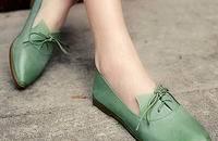 系带平底单鞋女春尖头鞋韩版 平底鞋女春
