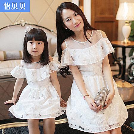 怡贝贝亲子装 短袖连衣裙夏季韩版母女装