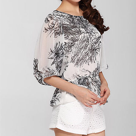 雪纺衫日系大码中袖打底衫中长款印花宽松上衣
