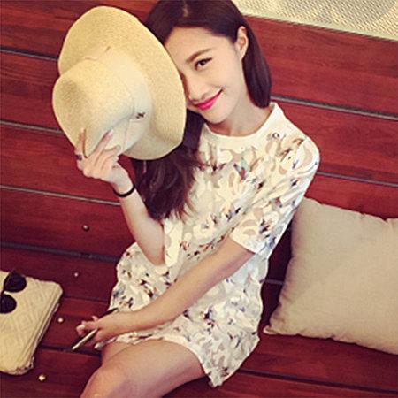 显瘦网纱短袖连衣裙