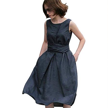 夏季森女欧美麻布长裙亚麻连衣裙