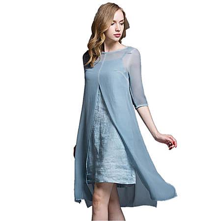 真丝连衣裙新款秋装女装两件套桑蚕丝连衣裙长裙