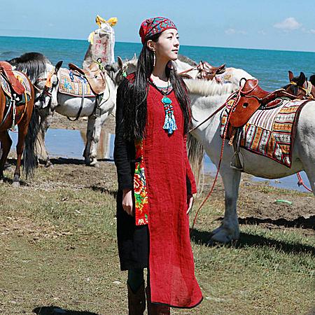 民族风连衣裙 复古棉麻长袖拼接长款气质长裙